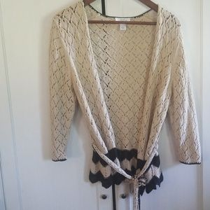 Loft cover up cardigan tie sweater crochet large